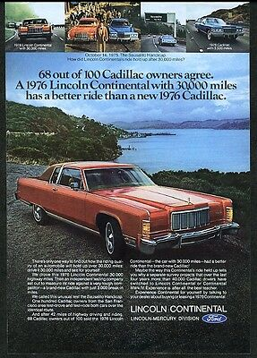 1976 Lincoln Continental coupe red car photo vintage print ad
