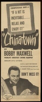1952 Bobby Maxwell photo Chinatown song release trade print ad