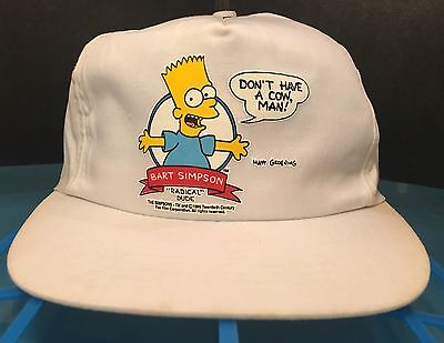 Vintage 1990 Don't Have A Cow Bart Simpson SnapBack Baseball Hat The Simpsons