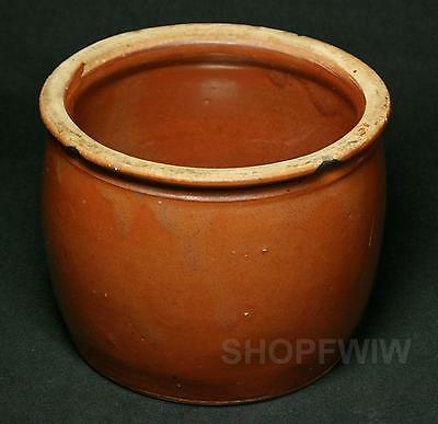 Vintage Brown Glazed Pottery Bean Pot Or Cheese Crock No Lid