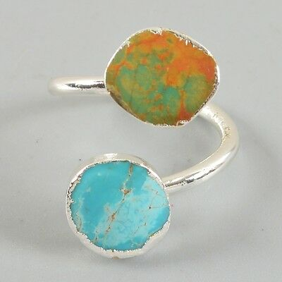 Size 6.5 100% Genuine Turquoise Adjustable Ring Silver Plated H80364