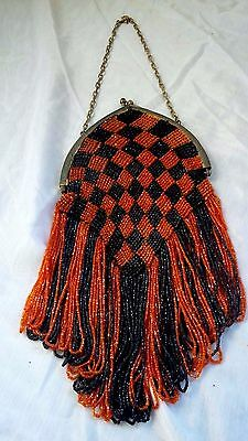 1920's European Orange Black Blue Beads Fringes Checkers Hand Evening Purse Bag