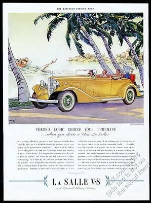 1933 Cadillac LaSalle Convertible Coupe yellow gold rumble seat car vintage ad