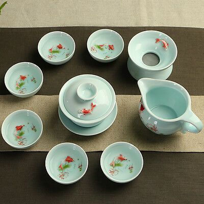Longquan celadon tea set kung fu porcelain tea pot gaiwan tureen tea cups fish