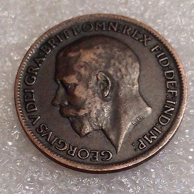UK (Great Britain) Farthing 1917 George V. Nice Bronze Coin  #1221