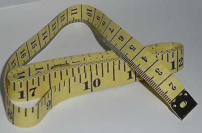 """150cm / 60"""" TAPE MEASURE Yellow with Black Indicators NEW tailor sewing craft"""