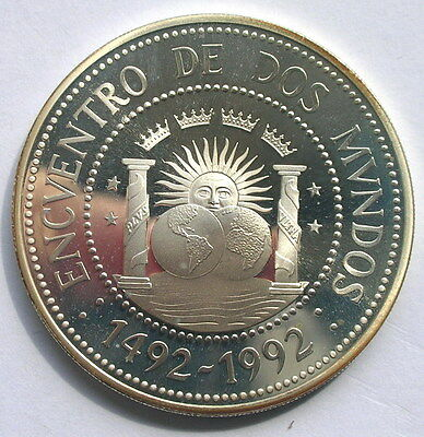 Argentina 1991 Ibero American 1000 Australes Silver Coin,Proof