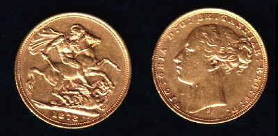 1873 Sydney Mint Gold Early Head Victoria Sovereign--Attractive--A Lustrous Coin