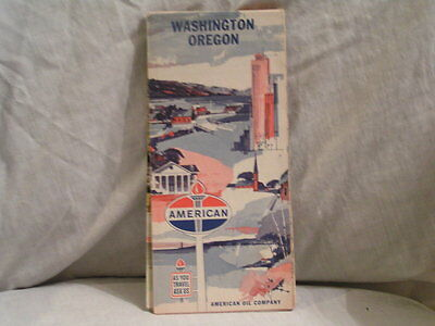 American Oil Co Road  Map For Washington &  Oregon