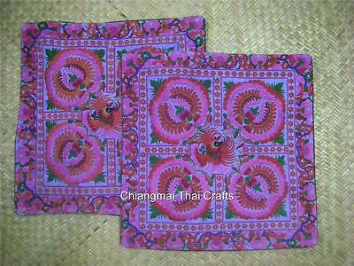 Hmong Floral Embroidery Pillow Cushion Set 2 Pieces Purple (#44)