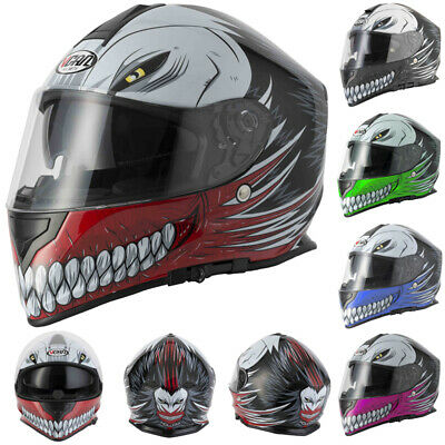 Vcan V127 Full Face ACU Gold Motorbike Motorcycle Helmet Hollow Matt Black Pink