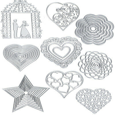 Flower Heart Metal DIY Cutting Dies Scrapbooking Stencils Album Paper Card Craft