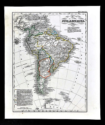 c.1848 Glaser Atlas Map - South America Brazil Argentina Patagonia Peru Colombia
