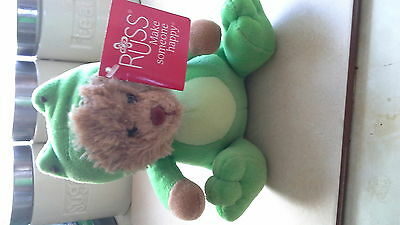 RUSS BERRIE SMALL PLUSH SOFT TOY Frog TEDDY BEAR NEW Christmas