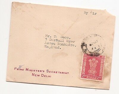 India 1959 Scarce Official cover to UK Ex Prime Minister  j8342