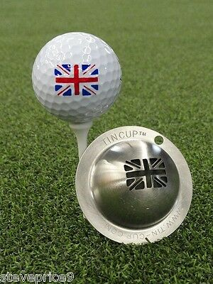 Tin Cup. Golf Ball Marker System. Union Jack Flag.