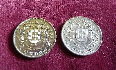 Two Portuguese Silver10 Centavo Coins - 1915