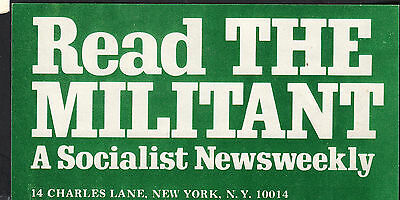Read the Militant Socialist Newsweekly 1970s 2.5 x 5 flyer advertisement