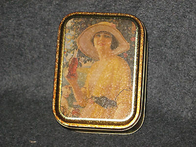 Coca Cola 1992 Metal Tin Box With lid shows Vintage Advertisements Lady in Dress