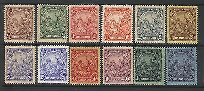 BARBADOS 1925-35 SHORT SET UP TO 2/- VALUE PLUS SHADES OF 2.5d VALUE MINT