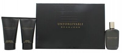 Sean John Unforgivable Gift Set 125Ml Edt + 100Ml A/s Balm + 100Ml S/g. New