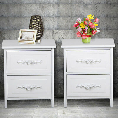 2x White Wooden Bedside Chest Side Table Cabinets Unit Nightstand with 2 Drawers