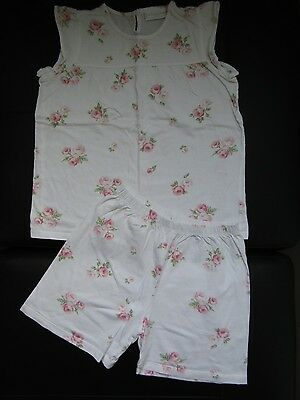 """The Little White Company girls cotton """"Rose"""" pyjamas  age 7- 8 years"""