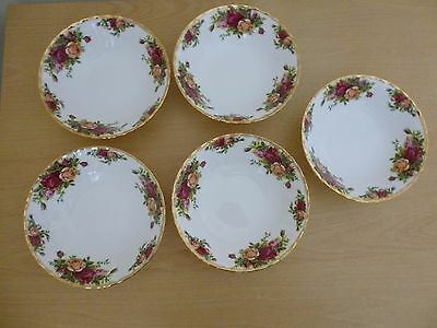 5 Royal Albert Old Country Roses 6.25 inch Cereal Bowls - 1st Quality