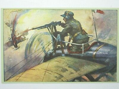 Military Machine Gunners-Artist Signed 102° Btg-Oq2-S42818