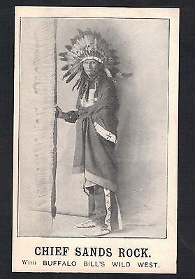 "Red Indian.""chief Sands Rock. Buffalo Bills Wild West"". Old Printed Postcard"