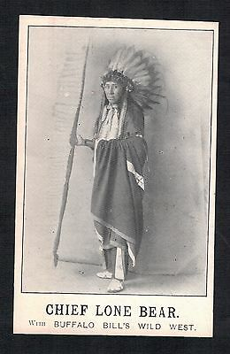 "Red Indian.""chief Lone Bear. Buffalo Bills Wild West"". Old Printed Postcard"
