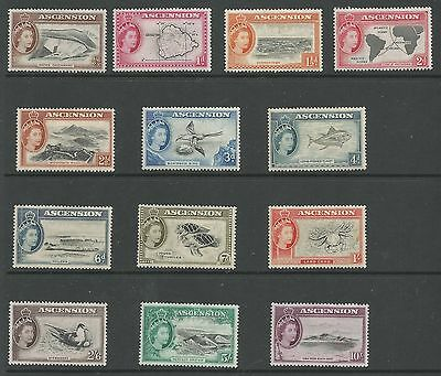Ascension Sg57-69 The 1956 Qe2 Set Of 13 Fresh  Mounted Mint Cat £140