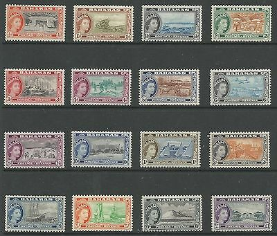 Bahamas Sg201-16 The 1954-63 Qe2 Set Of 16 Mounted Mint See Scans Cat £100