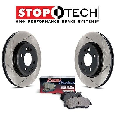 Pair Set of Front StopTech Slotted Brake Discs Ceramic Pads For Armada QX56