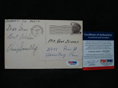 Vin Scully Signed 1971 Postcard *sent To Fan*  Psa/dna