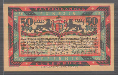 Notgeld Oldenburg in Oldenburg 1921, 50 Pfennig, Stadtwappen, Familie am Herd s