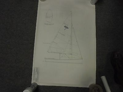 Vintage Sailboat Blueprint Plans 8 Pages Rhodes Bantam 14 Ft Dinghy Boat