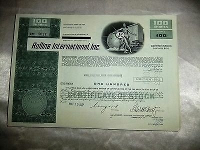 Vintage Rollins International Stock Shares 50 Sheets. Signed Dated NY Exchange.