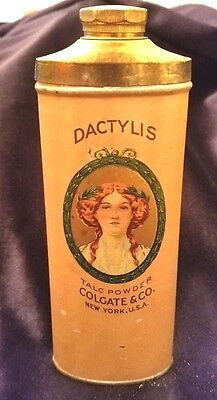 Old Advertising Powder Tin DACTYLIS Talc Powder Colgate & Co NY Cosmetic Bath