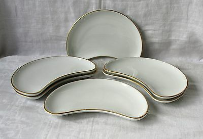 6  X  Cresent Salad Plates Made By Royal Worcester, England  - White + Gold Trim