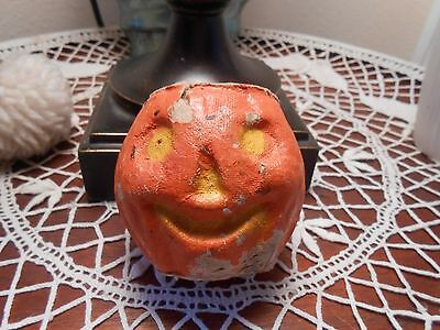 OLD HALLOWEEN PULP/paper mache SMALL JACK-O-LANTERN CANDY CONTAINER