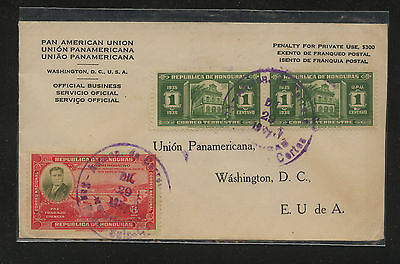 Honduras, official  cover to  US          MS0222
