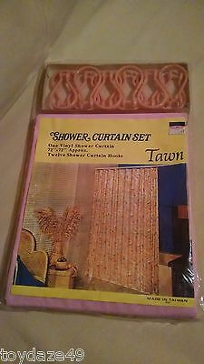 Pink Shower Curtain Set Hooks Vintage Taiwan ROC Tawn Vinyl Plastic NOS Sealed