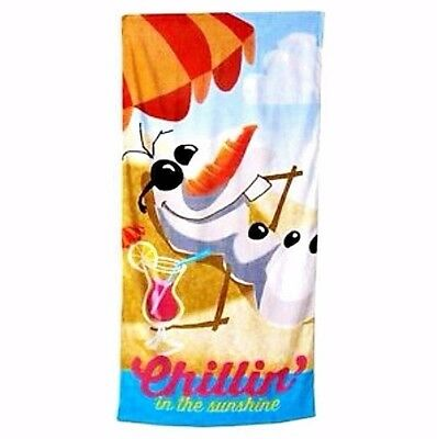 "NEW Disney Frozen Olaf Chillin In The Sunshine Beach Towel 28"" x 58"""