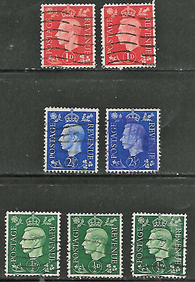 Great Britain #236(3), 237(2), 239(2) - Used, inverted wmk, £9.70 S/G