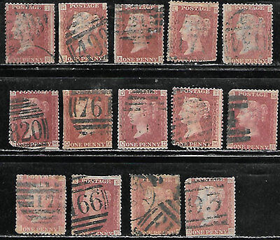 Great Britain #33 - Used, 14 F+ plating stamps, Cat $37.50