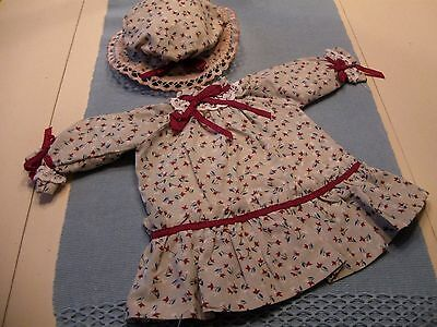 "Antique Style Cotton Print Dress and Bonnet for 18"" French or German Bisque Doll"