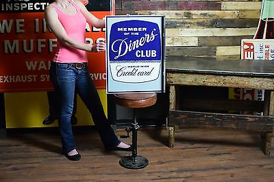 VINTAGE diners club sign 1962 2 sided flange Restaurant Transportation Gas Oil