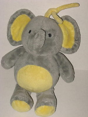 Carters Child of Mine Gray Yellow Elephant Musical Crib Pull Baby Plush Toy