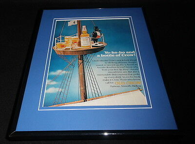 1966 Old Crow Whiskey Pirate Ship 11x14 Framed ORIGINAL Vintage Advertisement